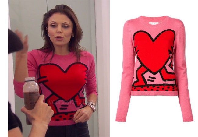 fortnite, Real Housewives of New York, RHONY, Bethenny Frankel, Season 11, Bethenny Frankel's outfit, celebrity outfits, reality tv shows, Real Housewives of New York outfits, bravo, reality tv clothes, Bethenny's heart sweater, Alice + Olivia Chia Sweater