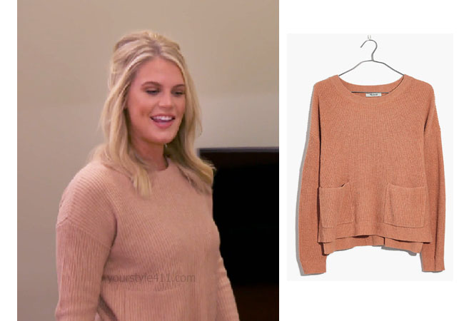 Southern Charm, Bravo TV, Cameran Eubanks, Star Style, fortnite, Game of Thrones, Cameran Eubanks' outfit, Cameran Eubanks clothes, celebrity outfit, ootd, Madison's peach sweater, Madewell Patch Pocket Pullover Sweater