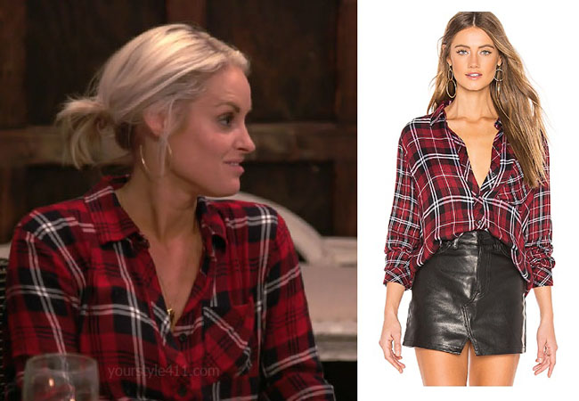 Southern Charm, Bravo TV, Danni Baird, Star Style, fortnite, Game of Thrones, Danni Baird's outfits, Danni Baird's clothes, Danni Baird's red plaid shirt, Rails Liza Button Down Shirt Wine Black White