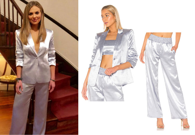The Bachelorette, The Bachelor, Bachelor In Paradise, Bachelor Nation, Hannah Brown, Hannah Brown's silk suit, Hannah Brown's silk jacket and pants, Cinq a sept kylie jacket, cinq a sept kylie pants