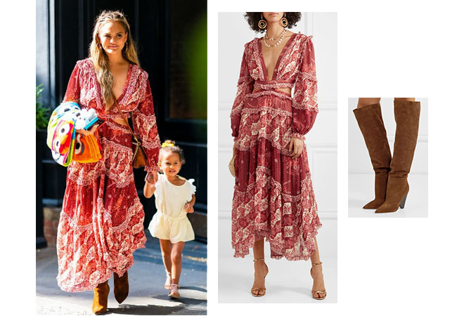Chrissy Teigen, John Legend, Chrissy in Italy, Chrissy Teigen's maxi dress, Chrissy Teigen's brown boots, Zimmerman Eyes on Summer Cutout Chiffon maxi Dress, Saint Laurent Niki Suede Over the Knee Boot