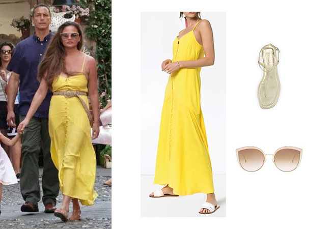 Chrissy Teigen, John Legend, Chrissy in Italy, Chrissy Teigen's yellow dress, Chrissy Teigen's sandals, Chrissy Teigen's sunglasses, Mara Hoffman Diana Maxi Dress, Prada Flat Metallic Leather T-Strap Leather Sandals, Fendi Eyewear F Is Fendi Sunglasses