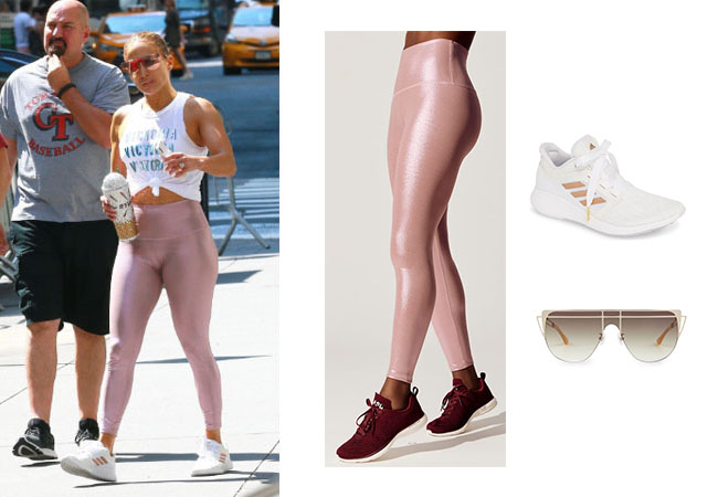 Jennifer Lopez, Jennifer Lopez's outfit, Jennifer Lopez's clothes, JLo, Alex Rodriguez, Jennifer Lopez's pink leggings, Jennifer Lopez's Adidas Sneakers, Jennifer Lopez's sunglasses, Art for Art's Sake Alien sunglasses, Adidas Edge Lux Sneakers,