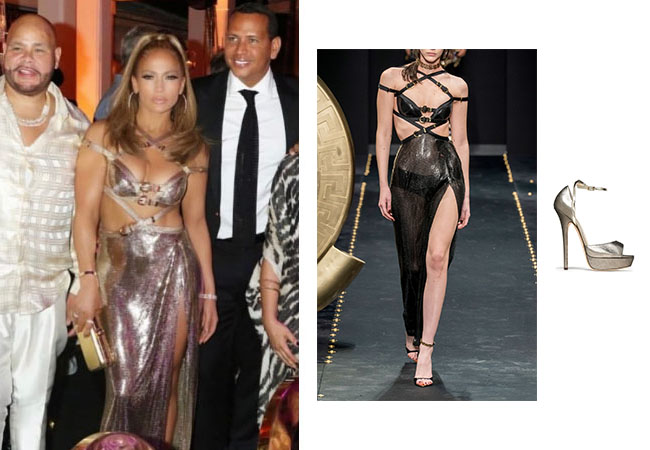 Jennifer Lopez, Jennifer Lopez's outfit, Jennifer Lopez's clothes, JLo, Alex Rodriguez, Jennifer Lopez's Gold Dress at 50th Birthday Party, Versace Sequin Cutout Slit Dress, Jimmy Choo Metallic Leather Platform Pumps