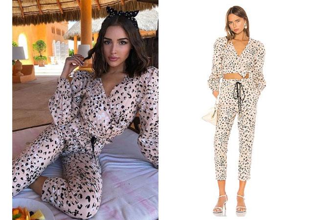 Olivia Culpo, Olivia Culpo Instagram, Olivia Culpo's leopard pants and top, Camila Coelho Fifer Top in Tan Leopard, Camila Coelho Wren Pant in Tan Leopard