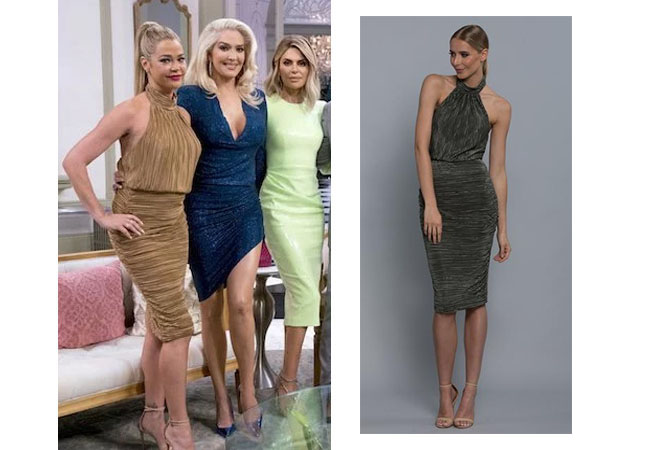 Real Housewives of Beverly Hills, RHOBH, Denise Richards, Season 9, Denise Richards's outfit, celebrity outfits, reality tv shows, Real Housewives of Beverly Hills outfits, bravo, reality tv clothes, Denise's gold dress at reunion, Denise's copper dress at reunion, Bariano Charlotte High Neck Pleat Dress