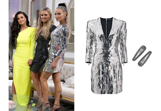 Real Housewives of Beverly Hills, Dorit Kemsley, #RHOBH, Lisa Vanderpump, Kyle Richards, Camille Grammer, Erika Girardi, Erika Jayne, Dorit's silver dress at Reunion, Dorit's hair clips at Reunion, Balmain sequin embellished mini dress, Kitsch snap hair clips