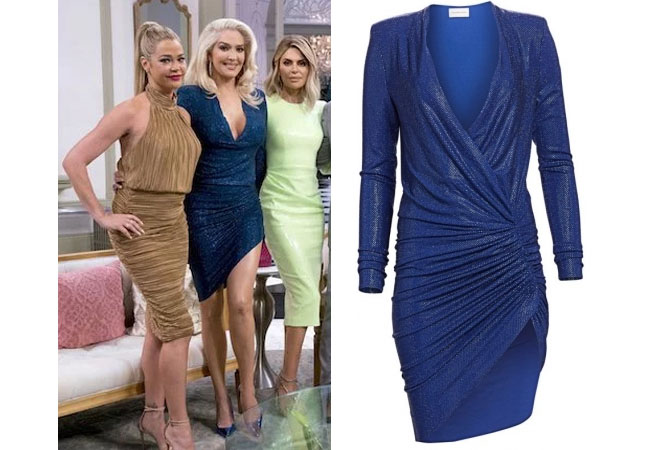 fortnite, Real Housewives of Beverly Hills, RHOBH, Erika Girardi, Season 9, Erika Girardi's outfit, celebrity outfits, reality tv shows, Real Housewives of Beverly Hills outfits, bravo, reality tv clothes, Erika Jayne, Erika's Blue Dress at Reunion, Alexandre Vauthier Microcrystal V-Neck Dress