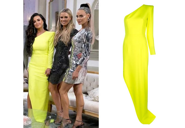fortnite, Real Housewives of Beverly Hills, RHOBH, Kyle Richards, Season 9, Kyle Richards' outfit, celebrity outfits, reality tv shows, Real Housewives of Beverly Hills outfits, bravo, reality tv clothes, Bravo After Show, Kyle's neon yellow dress, Kyle's dress at reunion, Alex Perry structured one shoulder gown