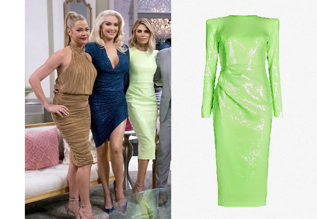 Real Housewives of Beverly Hills, RHOBH, Lisa Rinna, Real Housewives, Lisa Vanderpump, Kyle Richards, #RHOBH, Bravotv, Lisa Rinna's green dress at Reunion, Alex Perry Corbet sequinned midi dress
