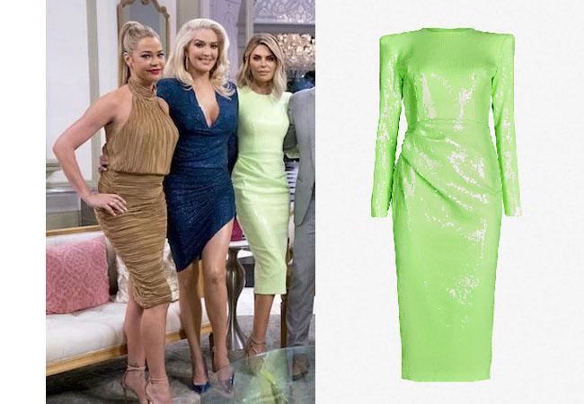 Real Housewives of Beverly Hills, RHOBH, Lisa Rinna, Real Housewives, Lisa Vanderpump, Kyle Richards, #RHOBH, Bravotv, Lisa Rinna's green dress at Reunion, Alex Perry Corbet sequinned midi dress