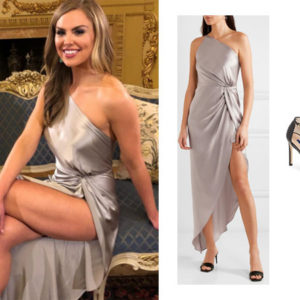 The Bachelorette, The Bachelor, Bachelor In Paradise, Bachelor Nation, Hannah Brown, Hannah Brown's silver dress, Michelle Mason asymmetric silk gown, Stuart Weitzman Nudistsong Ankle Strap Sandals