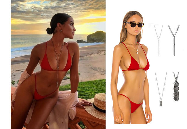 Olivia Culpo, Olivia Culpo Instagram, Olivia Culpo's red bikini, Olivia Culpo's necklaces, Shaycation x resolve Olivia Bottom in Red, Shaycation x resolve olivia top in red