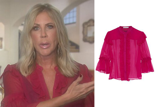 Real Housewives of Orange County, RHOC, Tamra Judge, Vickie Gunvalson, Bravo TV, Reality TV, Tamra Judge outfits, Starstyle, Worn on TV, Shop Your TV, Vickie's pink blouse in testimonial, Vickie's outfits, Alice + Olivia Odele riffle trimmed silk chiffon blouse