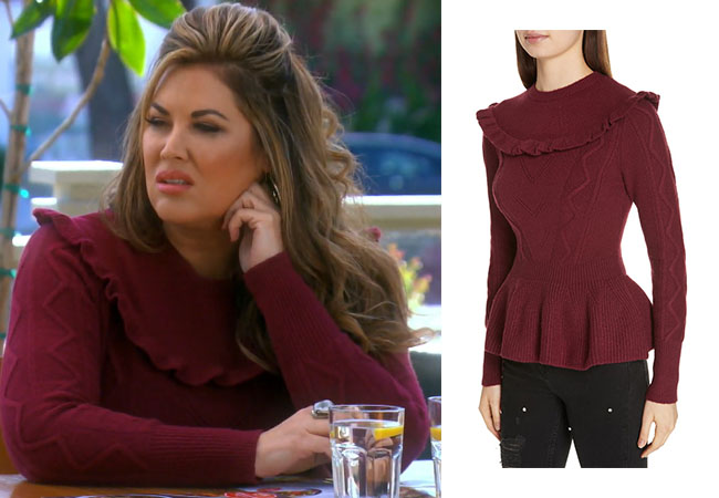 Emily Simpson, Real Housewives of Orange County, RHOC, Kelly Dodd's outfit, Kelly Dodd's clothes, Tamra Judge, Bravotv, Bravo Nation, Emily's maroon sweater, Emily's burgundy top, Ted Baker London Elsahi Yoke Detail Sweater