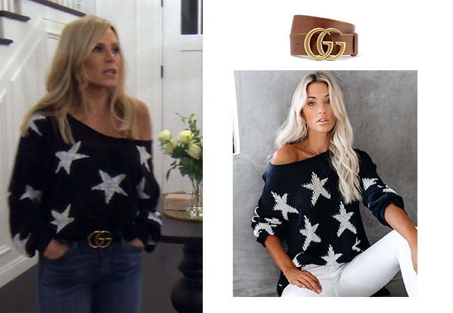 Tamra Judge, Real Housewives of Orange County, RHOC, Kelly Dodd, Tamra Judge's clothes, Tamra Judge, Bravotv, Bravo Nation, Tamra's Star Sweater, #RHOC, Tamra's jeans, Tamra's Gucci Belt, Star Off the Shoulder sweater, Gucci Leather Belt