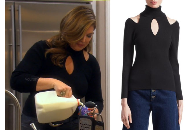 Emily Simpson, Real Housewives of Orange County, RHOC, Kelly Dodd's outfit, Kelly Dodd's clothes, Tamra Judge, Bravotv, Bravo Nation, Emily's black cutout top, Emily Simpson's black top, ALC Matera Cutout Sweater