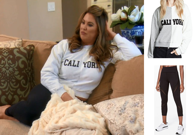 Emily Simpson, Real Housewives of Orange County, RHOC, Kelly Dodd's outfit, Kelly Dodd's clothes, Tamra Judge, Bravotv, Bravo Nation, Emily's Caliyork top, Cynthia Rowley Caliyork hoodie, Lululemon Bootcamp Ready Pants