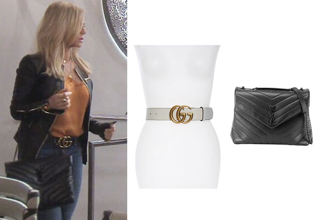 Tamra Judge, Real Housewives of Orange County, RHOC, Kelly Dodd, Tamra Judge's clothes, Tamra Judge, Bravotv, Bravo Nation, Tamra's Gucci Belt, Tamra's Saint Lauren Bag, Saint Laurent Loulou Monogram Matelasse Shoulder Bag, Gucci GG Belt