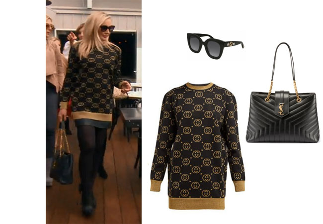 Real Housewives of Orange County, RHOC, Shannon Beador, Bravotv, Bravo Nation, Season 14, RHOBH, RHONY, Shannon's Gucci Sweater in Beverly Hills, Gucci GG Jacquard Wool Sweater, Saint Laurent Monogram Loulou Bag, Gucci sunglasses