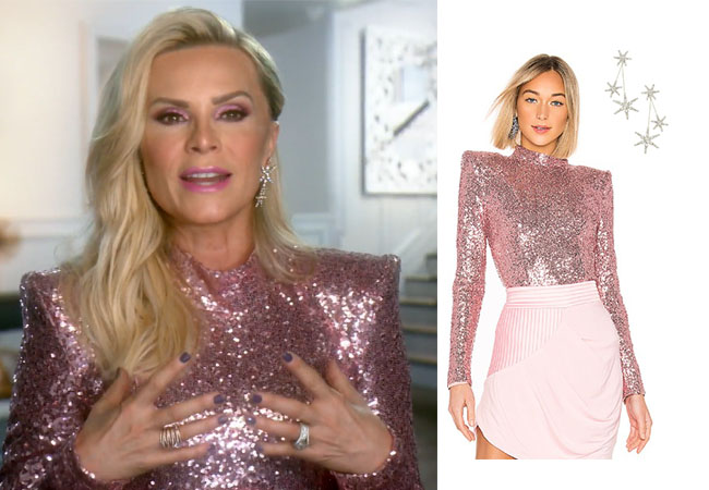 Tamra Judge, Real Housewives of Orange County, RHOC, Kelly Dodd, Tamra Judge's clothes, Tamra Judge, Bravotv, Bravo Nation, Tamra's Pink Sequin Top, Tamra in Testimonial, Zhivago When The Sun Went Down Top, Jennifer Behr Estrella Earrings