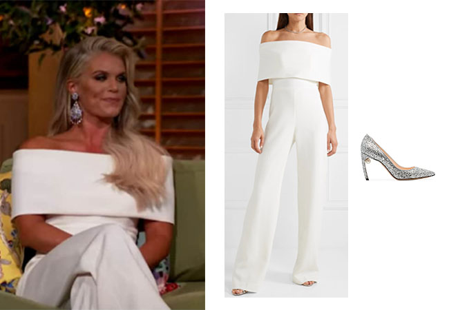 Madison LeCroy, Southern Charm, Madison's outfits, Southern Charm, Southern Charm Season 6, Southern Charm Reunion, Madison's Reunion jumpsuit, Madison's white jumpsuit, Lela Rosa Off the Shoulder Cady Jumpsuit, Nicholas Kirkwood silver Mira 90 heel pump