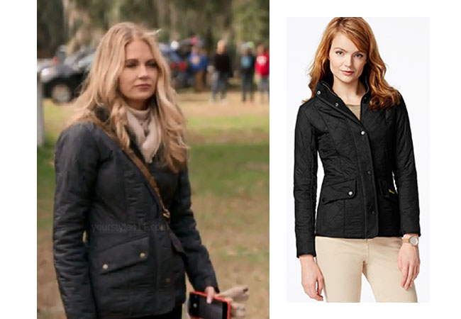 Southern Charm, Bravo TV, Cameran Eubanks, Star Style, fortnite, Game of Thrones, Cameran Eubanks' outfit, Cameran Eubanks clothes, celebrity outfit, ootd, Cameran's black quilted jacket, Barbour Cavalry Polarquilt Utility Jacket