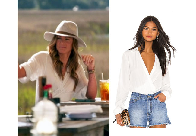 Chelsea Meissner, Southern Charm, Bravo TV, Cameran Eubanks, Star Style, fortnite, Game of Thrones, Cameran Eubanks' outfit, Cameran Eubanks clothes, celebrity outfit, Chelsea Meissner's outfit, Chelsea's clothes, Chelsea's white top, Superdown Presely Bodysuit in Ivory