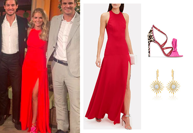 Southern Charm, Bravo TV, Cameran Eubanks, Star Style, fortnite, Game of Thrones, Cameran Eubanks' outfit, Cameran Eubanks clothes, celebrity outfit, ootd, Cameran's Season 6 Reunion dress, Cameran's red dress, Sophia Webster Bonnie 100 Strappy Sandals, Cushnie Rae Halter Gown