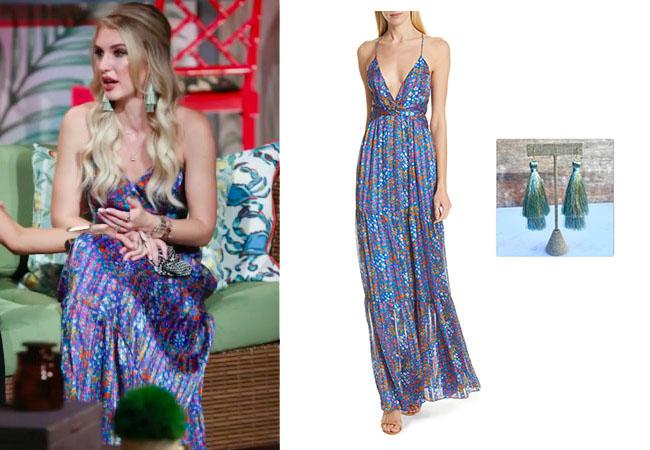 Southern Charm, Bravo TV, Eliza Limehouse, Eliza's outfits, Bravo Nation, Bravotv, ba&sh Rosy Maxi Dress, Southern Charm Season 6 Reunion, Eliza's Reunion Dress, Eiza's blue dress