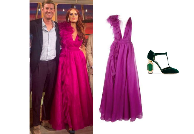 Kathryn Dennis, Southern Charm, Bravo TV, Cameran Eubanks, Star Style, fortnite, Game of Thrones, Cameran Eubanks' outfit, Cameran Eubanks clothes, celebrity outfit, ootd, Kathryn Dennis' Reunion dress, kathryn Dennis' purple dress, Marchesa Tulle Panel Evening Gown, Dolce and Gabbana Crystal Embellished Pumps