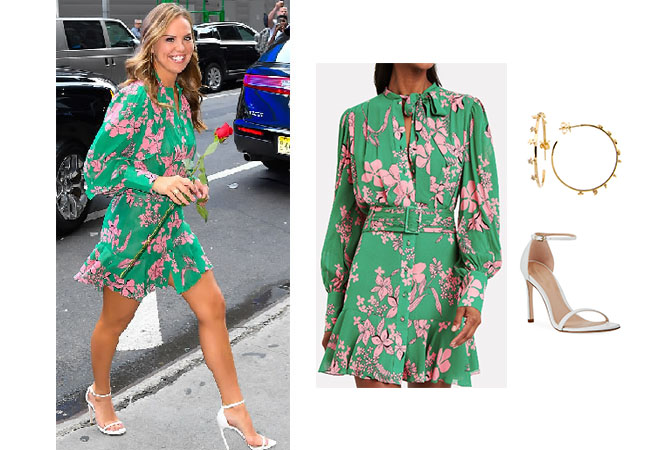 The Bachelorette, The Bachelor, Bachelor In Paradise, Bachelor Nation, Hannah Brown, Hannah Brown's green floral dress, Hannah's white sandals, Start Weitzman Nudistsong 90mm, Alexis Tisdale Island Floral Dress