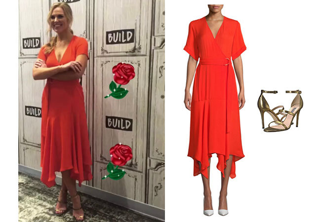 The Bachelorette, The Bachelor, Bachelor In Paradise, Bachelor Nation, Hannah Brown, Hannah Brown's red dress at the AOL Build Series July 31, 2019, ALC Claire Belted Handkerchief Silk Dress,