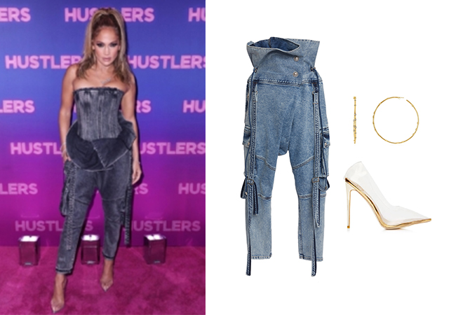 Jennifer Lopez, Jennifer Lopez's outfit, Jennifer Lopez's clothes, JLo, Alex Rodriguez, Hustlers Movie, Balmain High-Rise Acid Wash Denim Jeans, Melinda Maria Big Ass Hoops