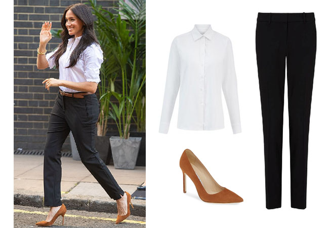 Meghan Markle, Duchess of Sussex, Suits, HRH, Harry, Meghan and Harry, US Open, Serena Williams, Meghan Markle's clothes, Meghan Markle's outfits, Meghan's denim dress, Meghan's dress at the US Open, The Smart Set Paris Slim Fit Tapered Trousers, The Smart Set The Husband Shirt, Manolo Blahnik BB Pointy Toe Pump