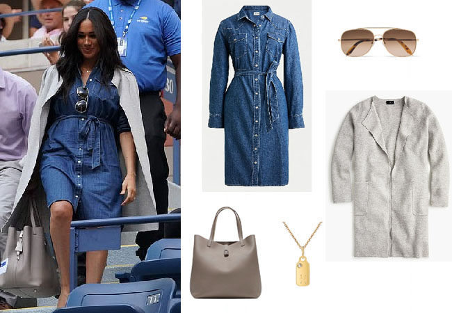 Meghan Markle, Duchess of Sussex, Suits, HRH, Harry, Meghan and Harry, US Open, Serena Williams, Meghan Markle's clothes, Meghan Markle's outfits, Meghan's denim dress, Meghan's dress at the US Open, J.Crew Denim Shirtdress, Meghan's gray jacket at US Open, J.Crew Juliette Collarless Sweater-blazer, Victoria Beckham Navigator Aviator Sunglasses, Mini Mini Jewels Dog Tag Necklace, Carolina Herrera Mariola Tote,