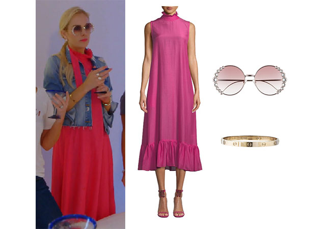 Kameron Westcott, Real Housewives of Dallas, RHOD, Season 4, Kameron Westcott's pink dress, Kameron's pink sunglasses, Fendi 58mm Round Sunglasses, Maggie Marilyn Flotaing on the clouds high neck dress, Cartier Love Bracelet