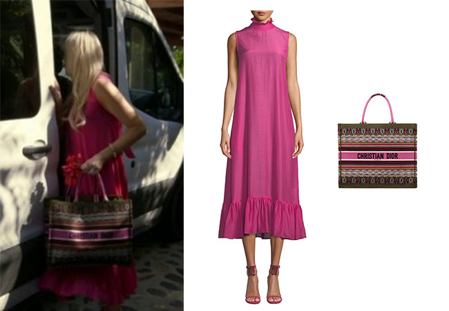 Kameron Westcott, Real Housewives of Dallas, RHOD, Season 4, Kameron Westcott's pink dress, Kameron's pink sunglasses, Fendi 58mm Round Sunglasses, Maggie Marilyn Flotaing on the clouds high neck dress, Cartier Love Bracelet, Christian Louboutin Book Tote