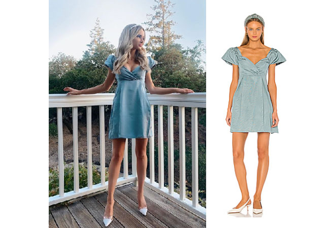 Amanda Stanton, The Bachelor, The Bachelorette, Bachelor In Paradise, #BIP, X by NBD Harvest Pink, Amanda Stanton on Instagram, @amanda_stantonn, Amanda Stanton's blue dress in Napa October 7, 2019, LPA Natasha Dress