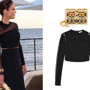 Bethenny Frankel, Real Housewives of New York, RHONY, BravoNation, Mugler Mesh Paneled stretch crape top, Dolce and Gabbana cotton and Wood Box Clutch