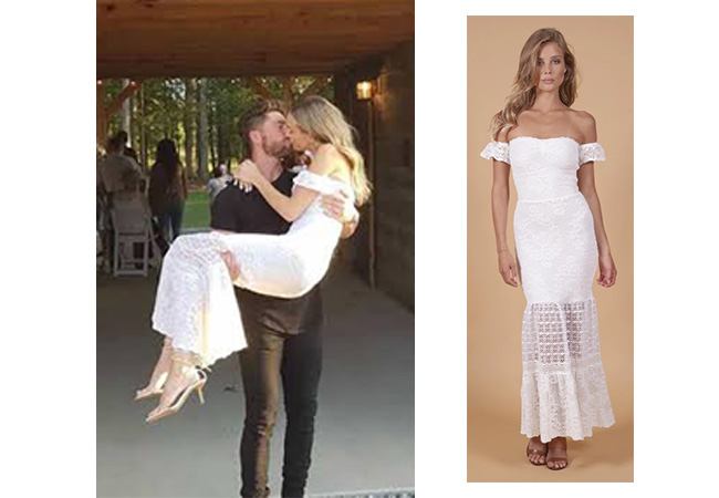 Lauren Bushnell, The Bachelor, Nightcap Clothing crochet flutter gown, Lauren Bushnell's Engagement Dress