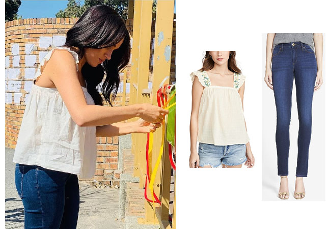 Meghan Markle, Meghan Markle Africa Tour, Meghan and Harry, Royal Outfits, Meghan Markle Outfits, Meghan's Mirror, Meghan Markle's White White top at Cape Town Murder, Meghan Markle's Jeans, DL 1961 Emma Jeans in Albany, Madewell Embroidered Flutter Sleeve Top