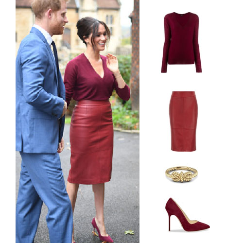 Meghan Markle, Duchess of Sussex, Suits, HRH, Harry, Meghan and Harry, Meghan Markle's clothes, Meghan Markle's outfits, Meghan's Burgundy outfit, Meghan outfit at Windsor Castle October 25, 2019, Joseph Deep V-Neck Sweater, Boss Selrita Leather Skirt, Sarah Flint Perfect Pump in Cabernet