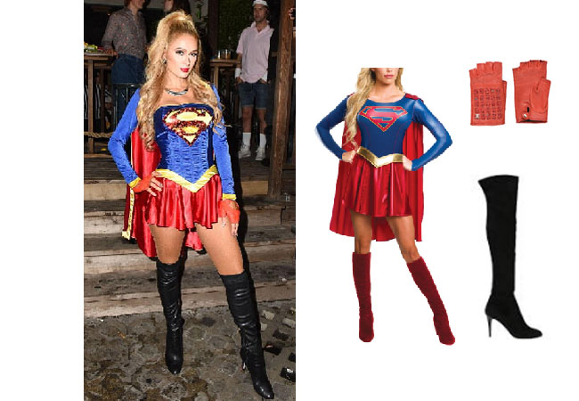 Paris Hilton, Paris Hilton's Halloween Costume, Superwoman Halloween Costume, Supergirl Halloween Costume, Halloween 2019, Celebrity Halloween Costumes, Casamigos Halloween Party