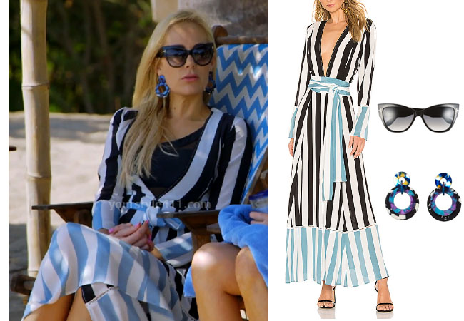Kameron Westcott, Real Housewives of Dallas, RHOD, Season 4, Kameron Westcott's stripe dress in Mexico, we are Leone Contrast Stripe Cardigan Dress, Lele Sadoughi Banded Hoop Earrings, Tom Ford Anoushka 57mm sunglasses