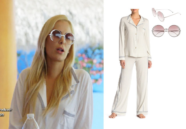Kameron Westcott, Real Housewives of Dallas, RHOD, Season 4, Kameron Westcott's pink dress, Kameron's pink sunglasses, Kameron Westcott's white pajamas with grey stripe, Fendi 58mm Round Sunglasses, Cosabella Hustle Side Pattern Pajamas