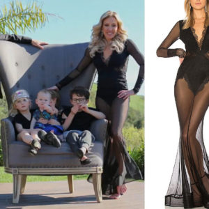 Braunwyn Windham Burke, Real Housewives of Orange County, RHOC, Kelly Dodd, Tamra Judge's clothes, Tamra Judge, Bravotv, Bravo Nation, #RHOC, Braunwyn's yellow and black dress, Season 14, Braunwyn's Black Mesh Lace Dress Gown, Michael Costello x Revolve Martin Gown