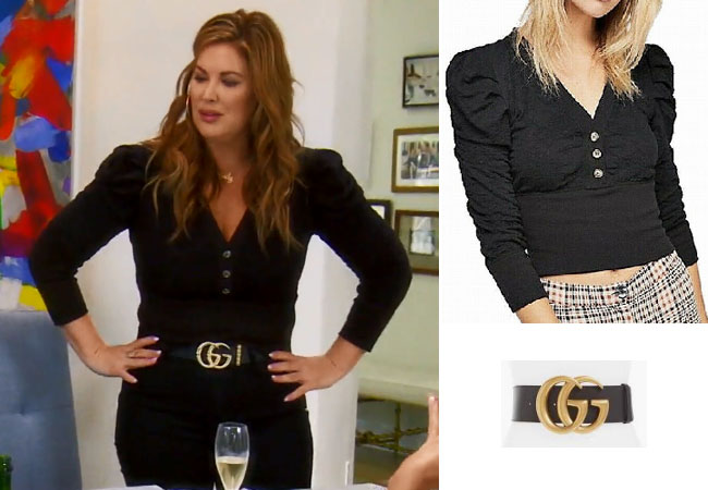 Emily Simpson, Real Housewives of Orange County, RHOC, Kelly Dodd's outfit, Kelly Dodd's clothes, Tamra Judge, Bravotv, Bravo Nation, Season 14, Emily's Black Puff Sleeve Top, Emily's Gucci Belt, Free People Gemma Puff Sleeve Top, Gucci Leather Belt
