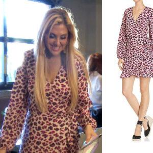 Gina Kirschenheiter, Real Housewives of Orange County, RHOC, Kelly Dodd's outfit, Kelly Dodd's clothes, Tamra Judge, Bravotv, Bravo Nation, Season 14, Gina's Pink Leopard Dress, Aqua Leopard Print Wrap Dress