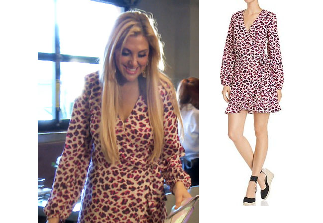 Gina Kirschenheiter, Real Housewives of Orange County, RHOC, Kelly Dodd's outfit, Kelly Dodd's clothes, Tamra Judge, Bravotv, Bravo Nation, Season 14, Gina's Pink Leopard Dress, Aqua Leopard Print Wrap Dress
